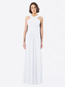 Long A-Line Off The Shoulder Sweetheart Sleeveless White Chiffon Bridesmaid Dress Claire