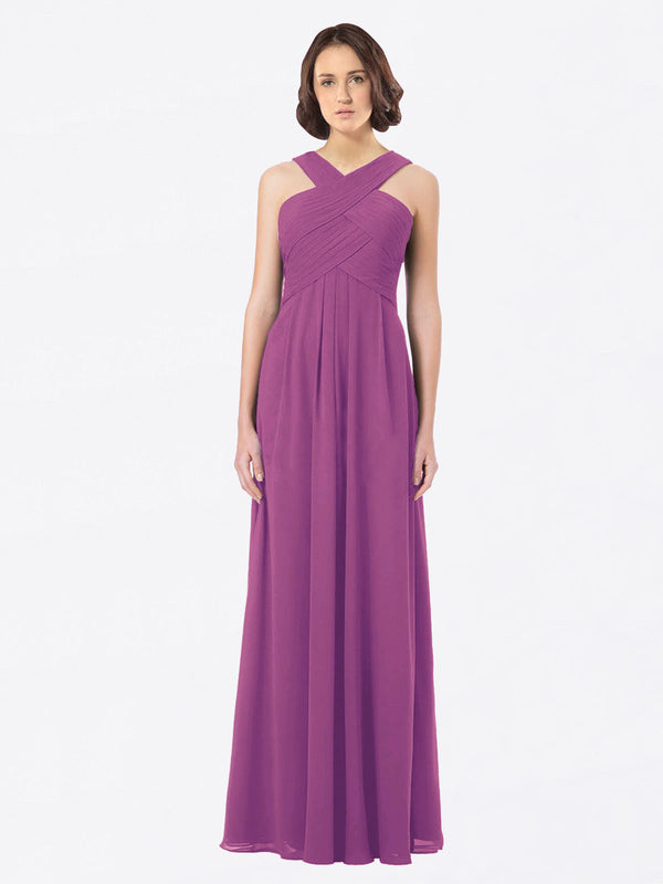 Long A-Line Off The Shoulder Sweetheart Sleeveless Wild Berry Chiffon Bridesmaid Dress Claire