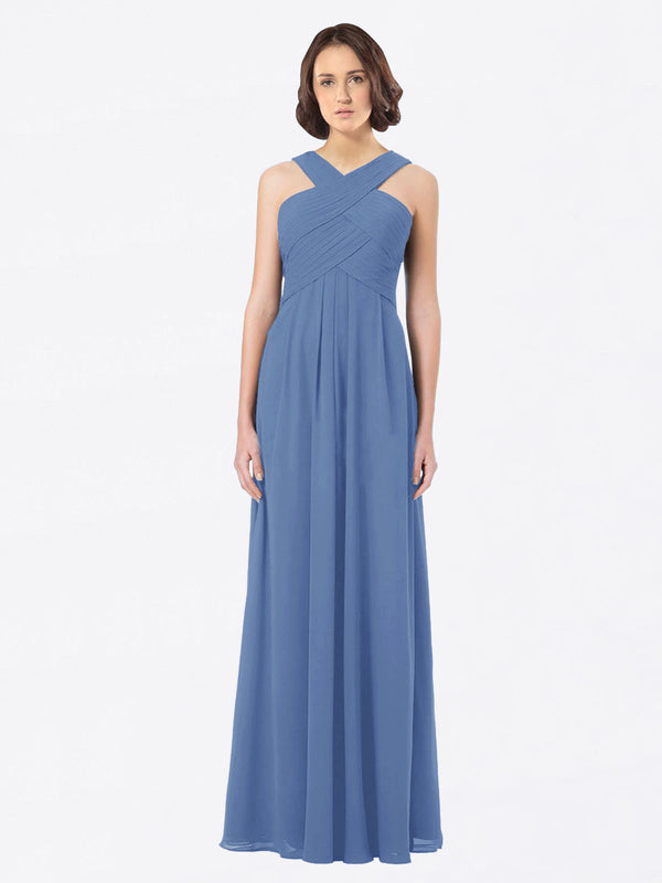 Long A-Line Off The Shoulder Sweetheart Sleeveless Windsor Blue Chiffon Bridesmaid Dress Claire