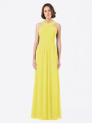 Long A-Line Off The Shoulder Sweetheart Sleeveless Yellow Chiffon Bridesmaid Dress Claire