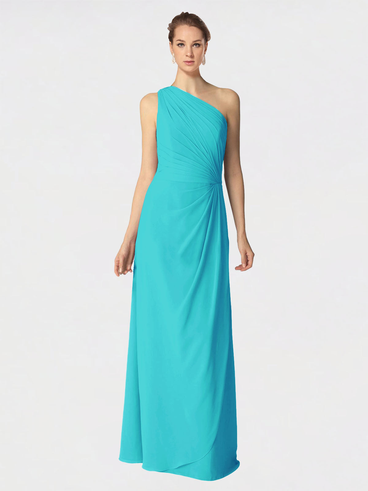 Long A-Line One Shoulder Sleeveless Aqua Chiffon Bridesmaid Dress Aurora