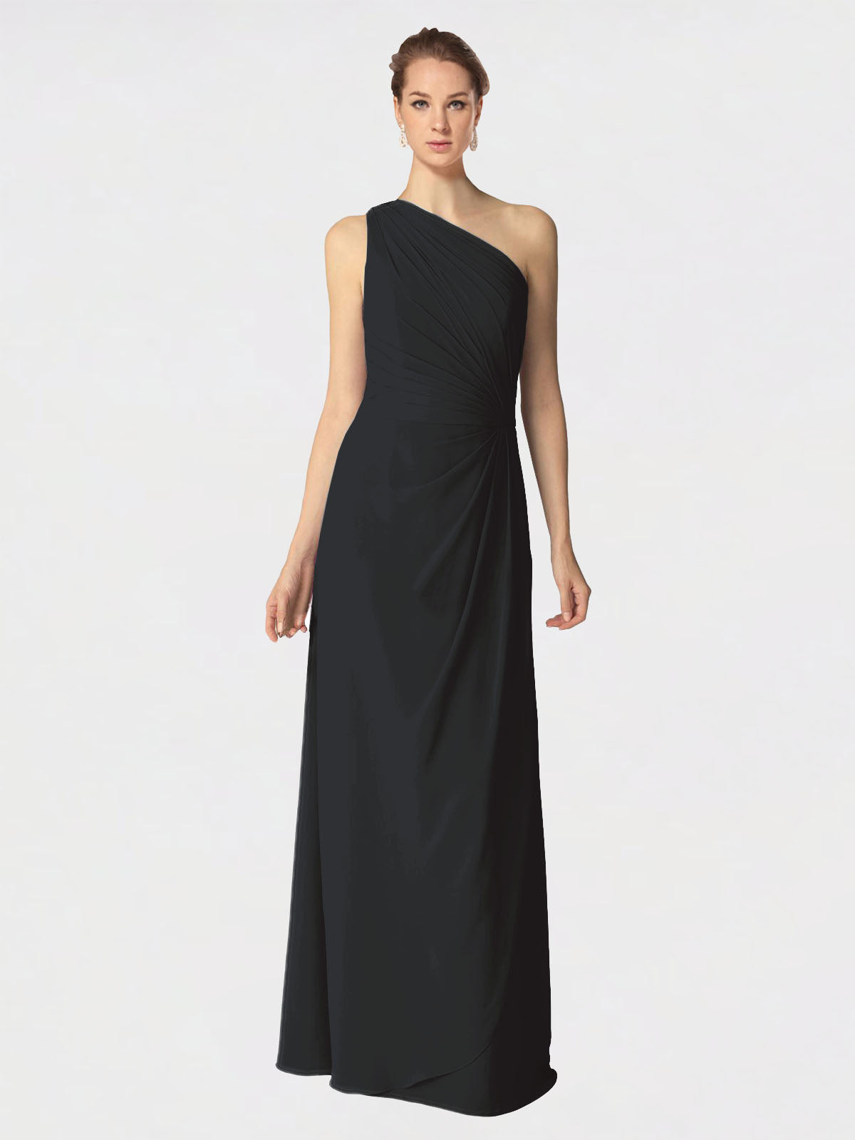 Long A-Line One Shoulder Sleeveless Black Chiffon Bridesmaid Dress Aurora