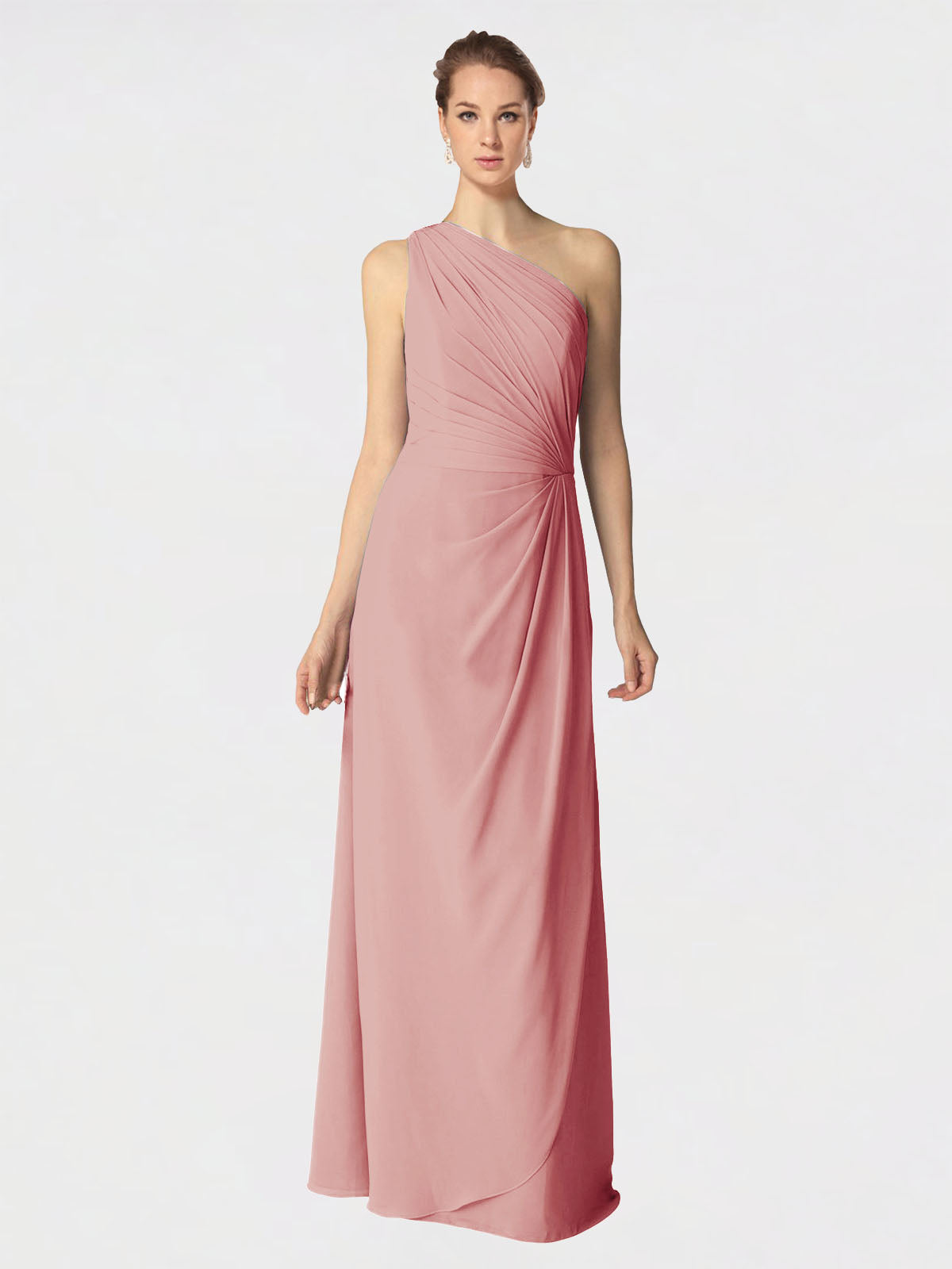 Long A-Line One Shoulder Sleeveless Bliss Chiffon Bridesmaid Dress Aurora