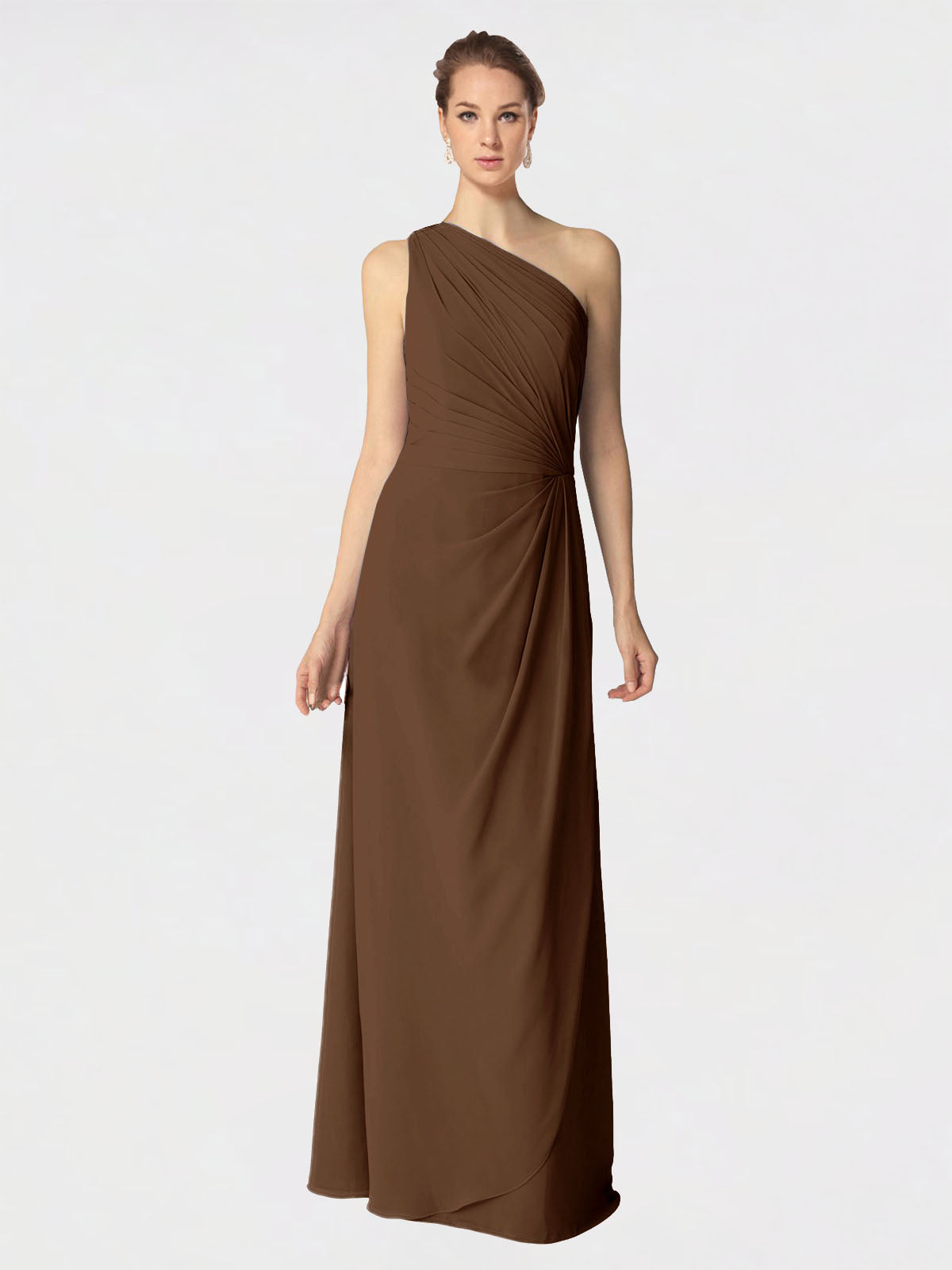Long A-Line One Shoulder Sleeveless Brown Chiffon Bridesmaid Dress Aurora