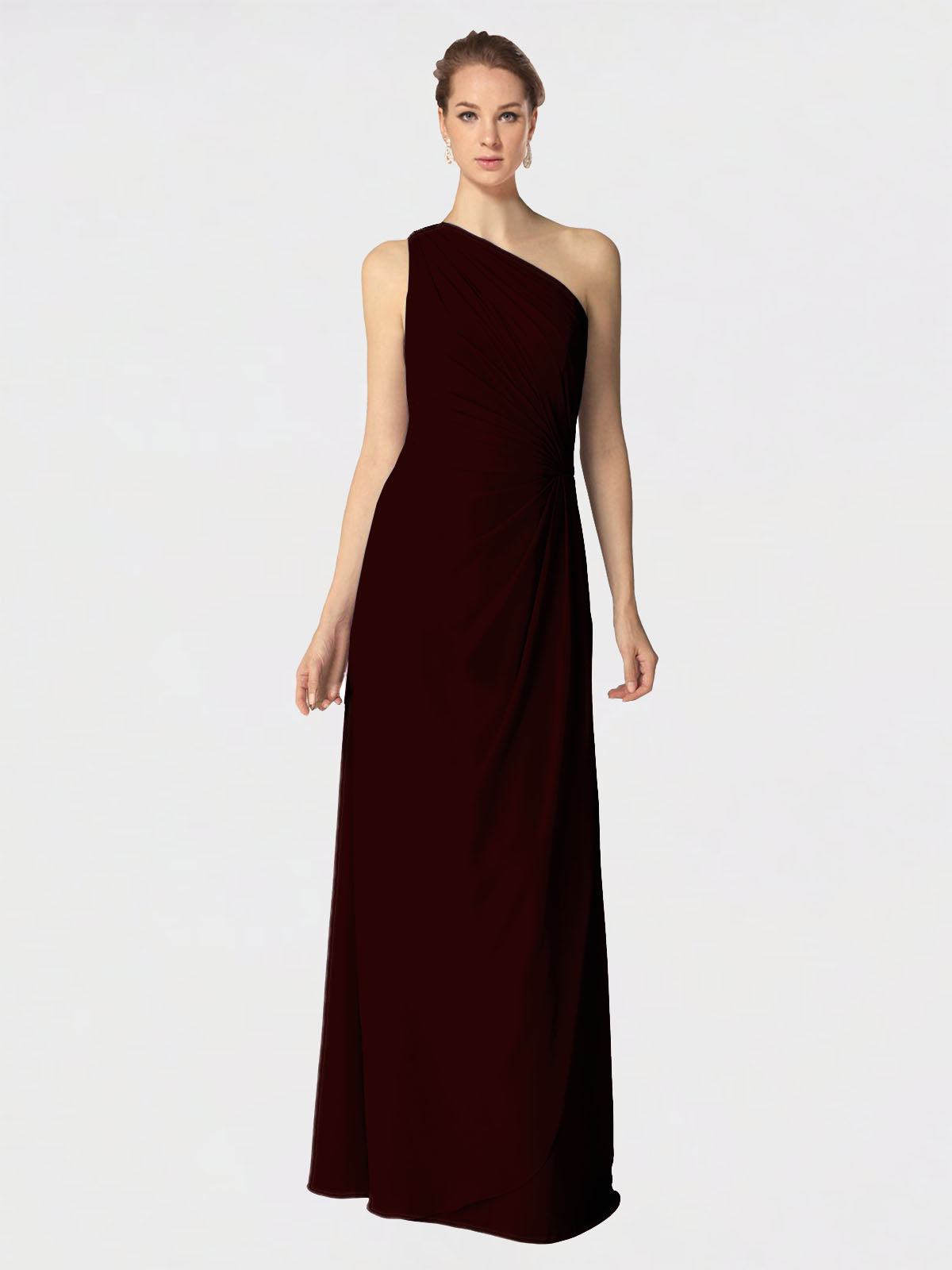Long A-Line One Shoulder Sleeveless Burgundy Gold Chiffon Bridesmaid Dress Aurora