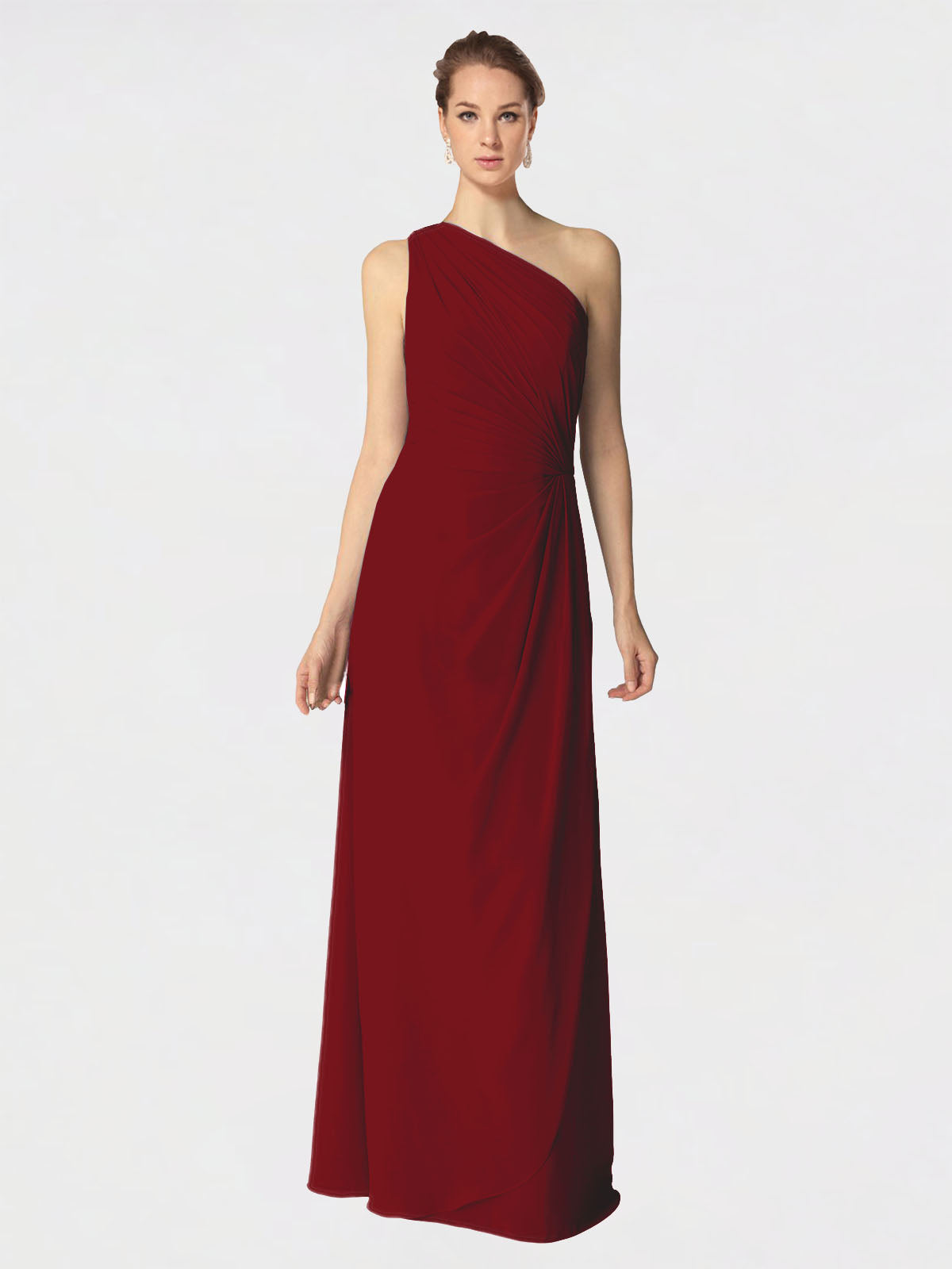 Long A-Line One Shoulder Sleeveless Burgundy Chiffon Bridesmaid Dress Aurora