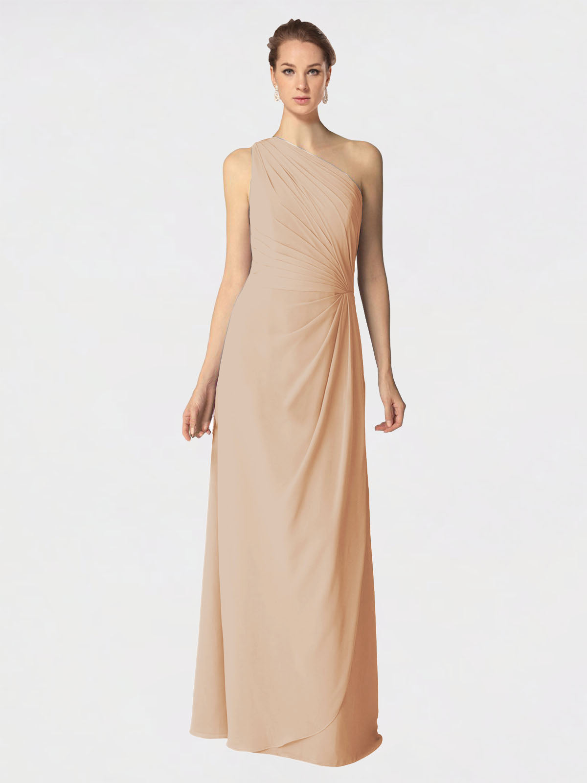 Long A-Line One Shoulder Sleeveless Champagne Chiffon Bridesmaid Dress Aurora