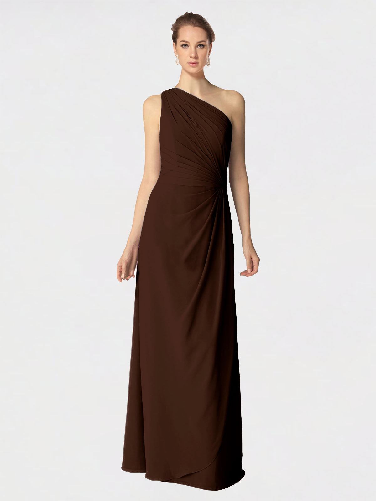 Long A-Line One Shoulder Sleeveless Chocolate Chiffon Bridesmaid Dress Aurora