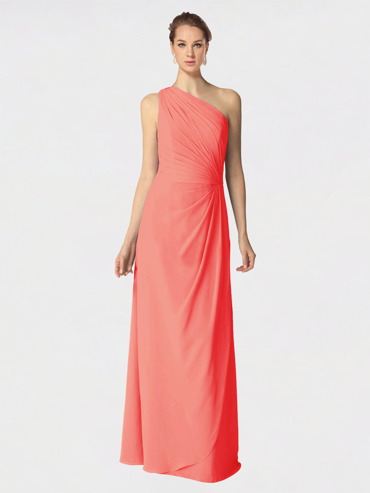 Long A-Line One Shoulder Sleeveless Coral Chiffon Bridesmaid Dress Aurora