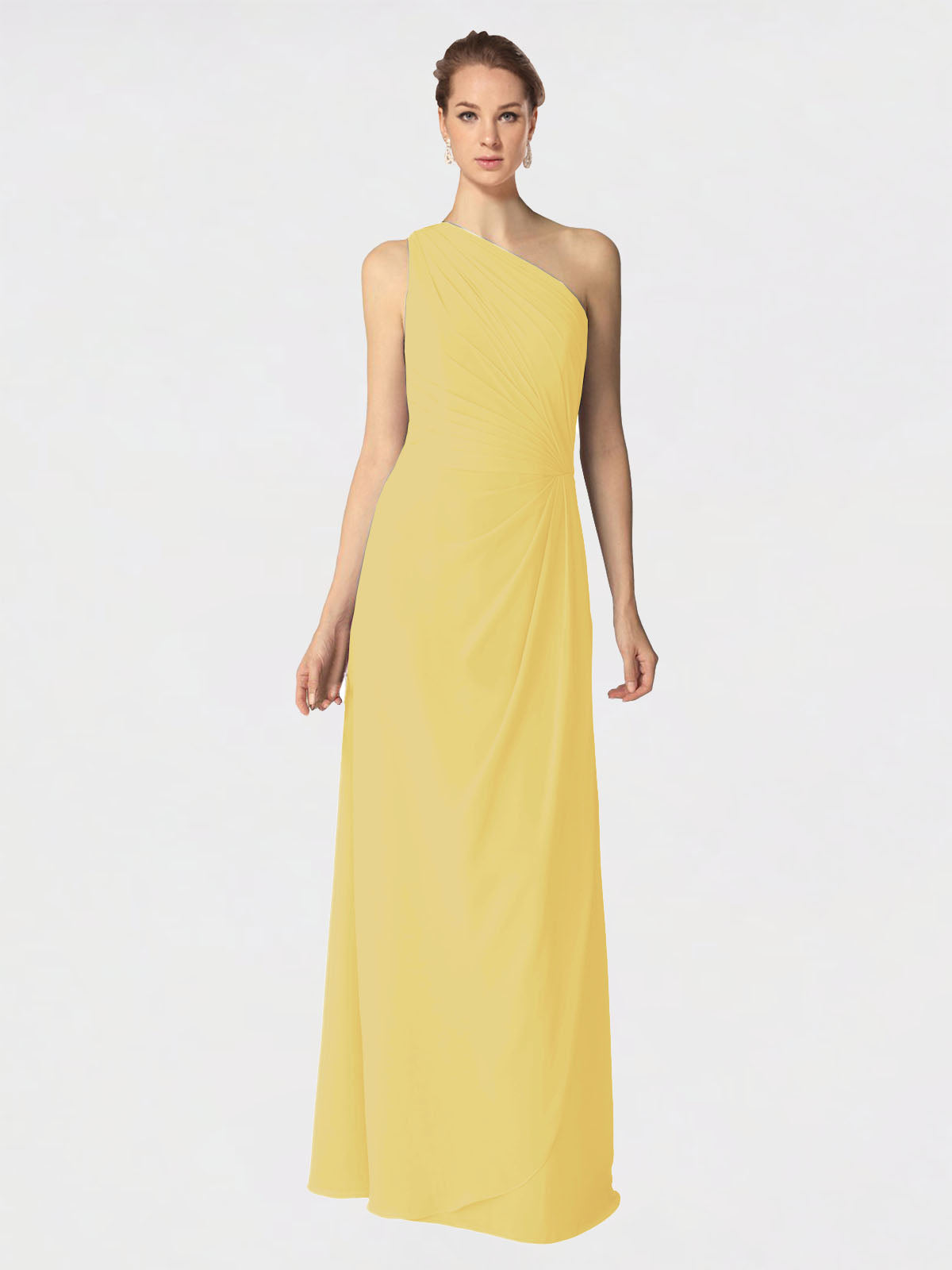 Long A-Line One Shoulder Sleeveless Daffodil Chiffon Bridesmaid Dress Aurora