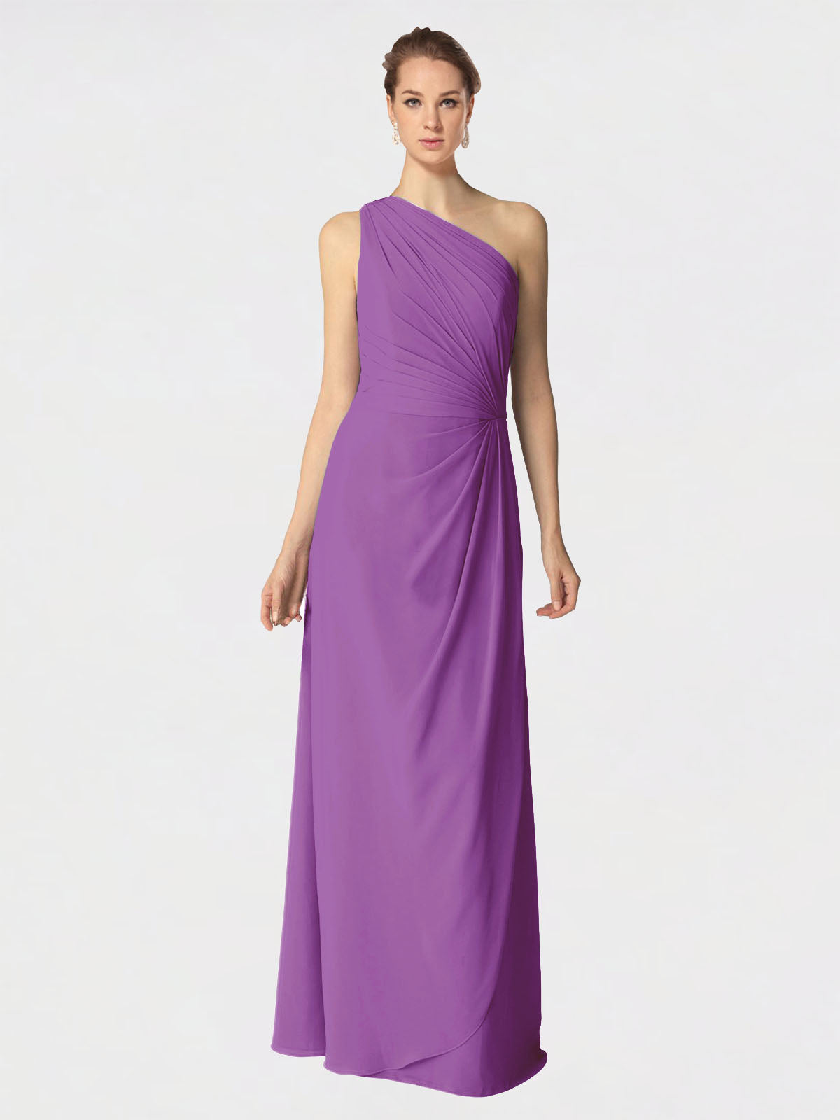 Long A-Line One Shoulder Sleeveless Dahlia Chiffon Bridesmaid Dress Aurora