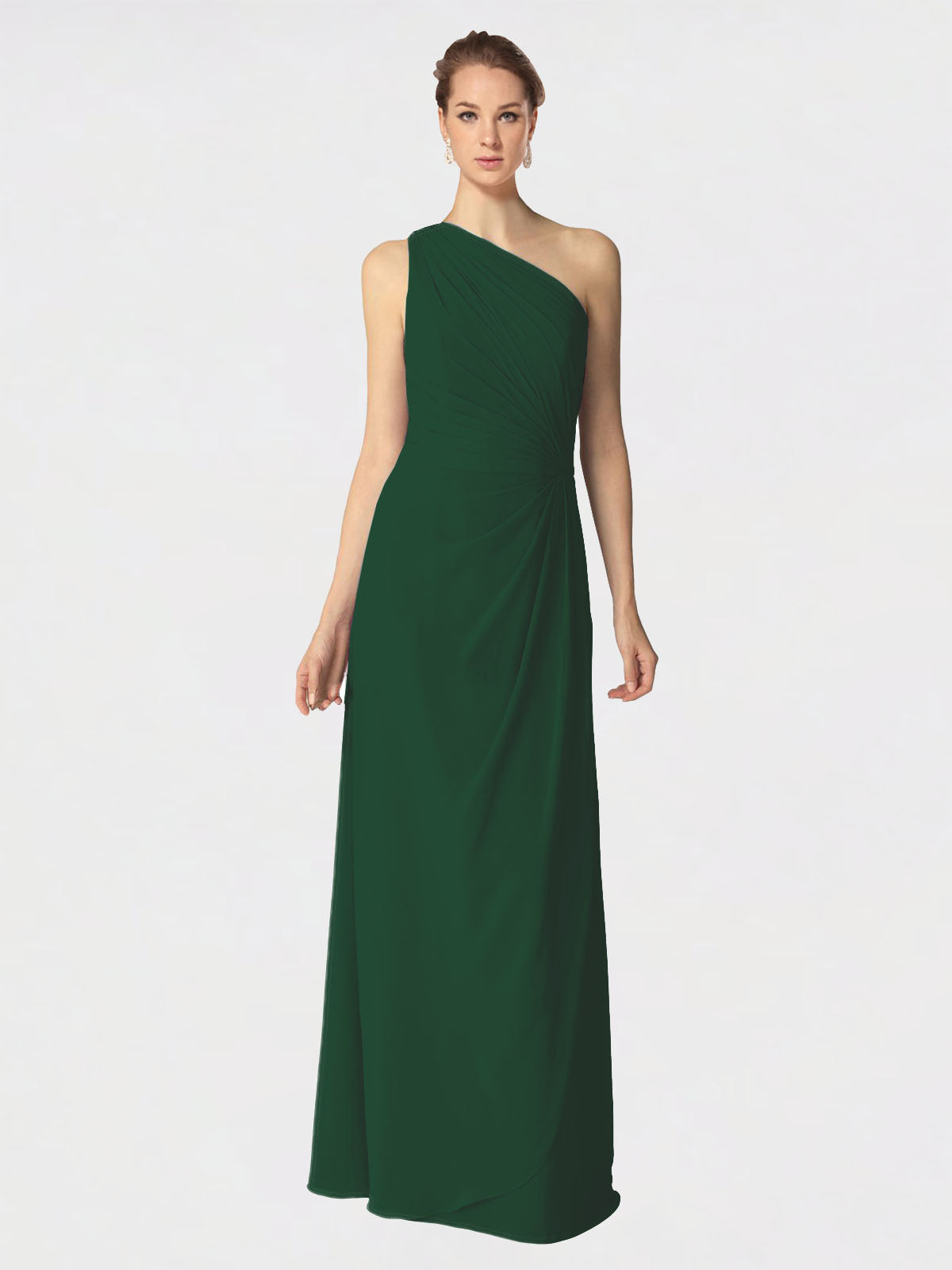 Long A-Line One Shoulder Sleeveless Dark Green Chiffon Bridesmaid Dress Aurora