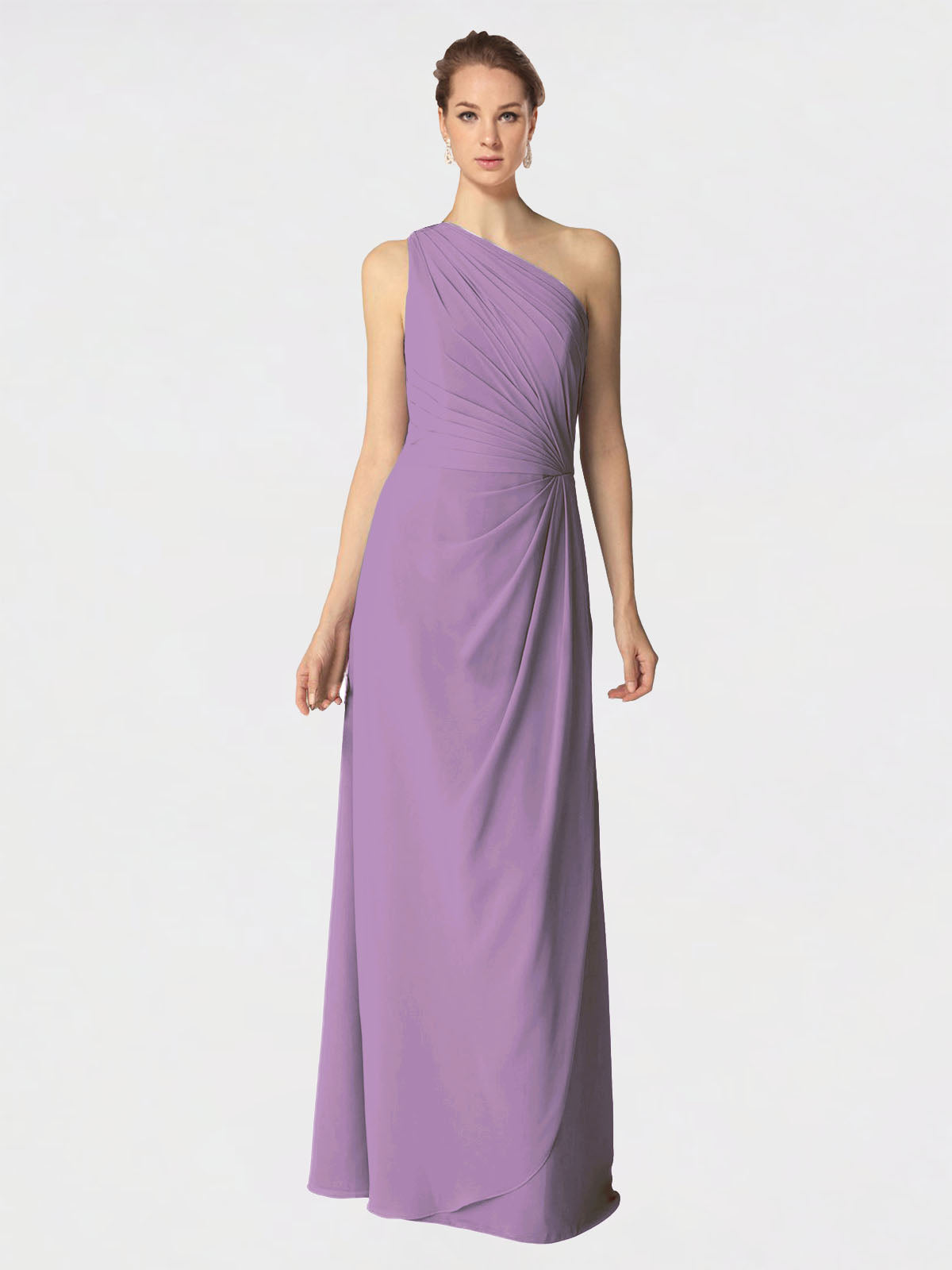Long A-Line One Shoulder Sleeveless Dark Lavender Chiffon Bridesmaid Dress Aurora