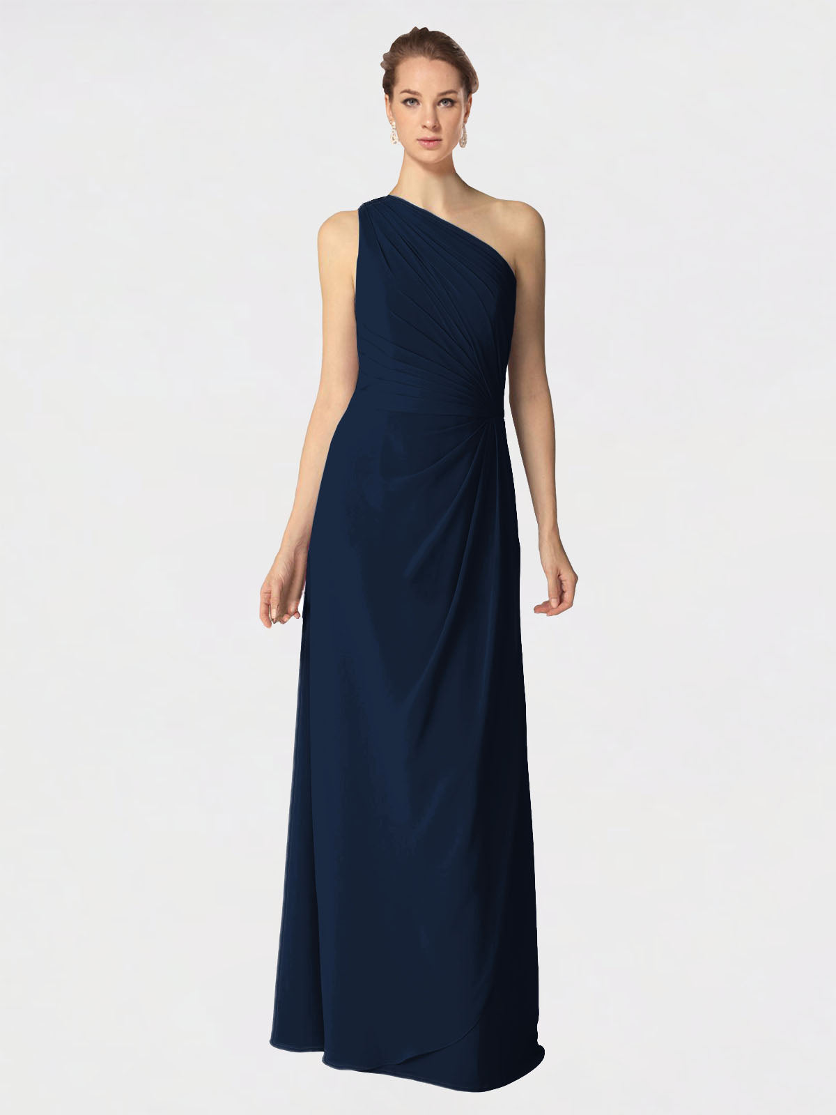 Long A-Line One Shoulder Sleeveless Dark Navy Chiffon Bridesmaid Dress Aurora