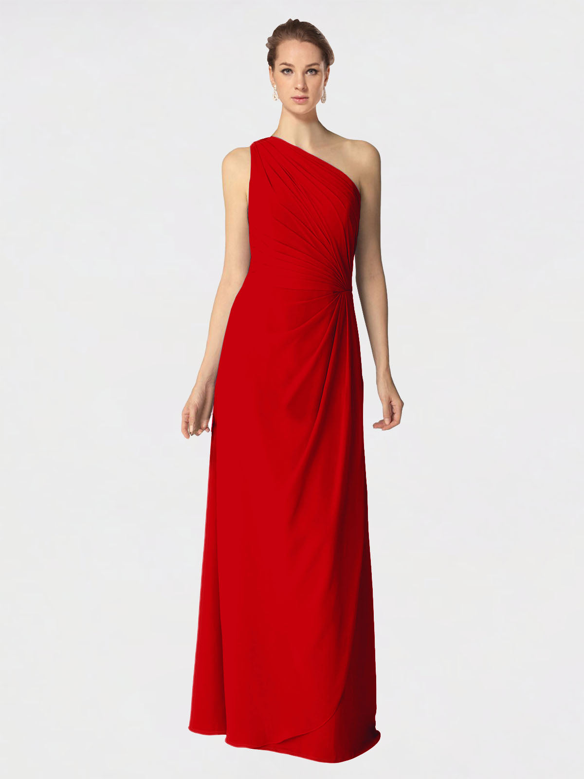 Long A-Line One Shoulder Sleeveless Dark Red Chiffon Bridesmaid Dress Aurora