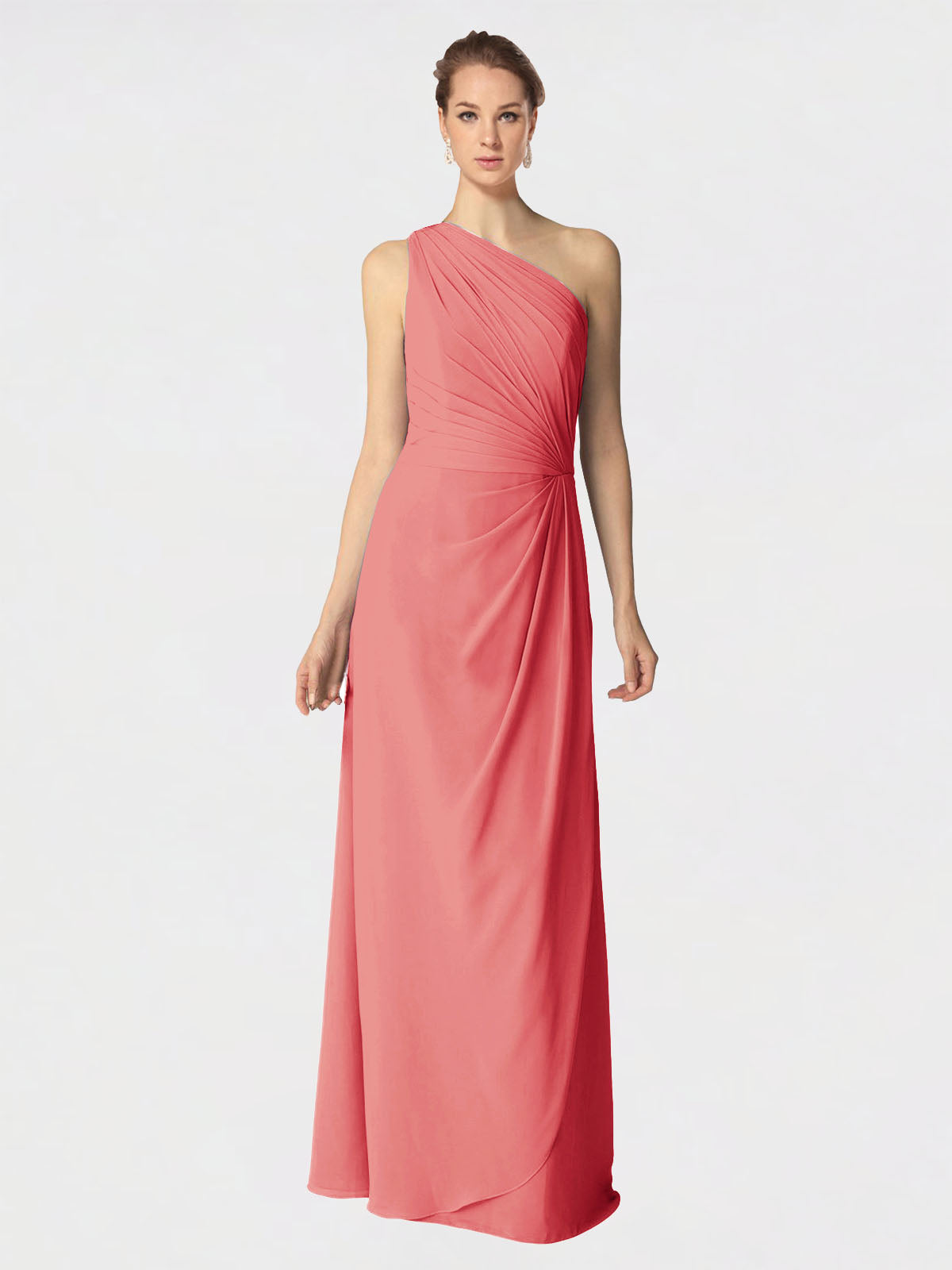 Long A-Line One Shoulder Sleeveless Desert Rose Chiffon Bridesmaid Dress Aurora
