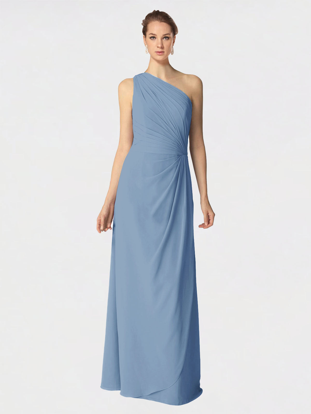Long A-Line One Shoulder Sleeveless Dusty Blue Chiffon Bridesmaid Dress Aurora