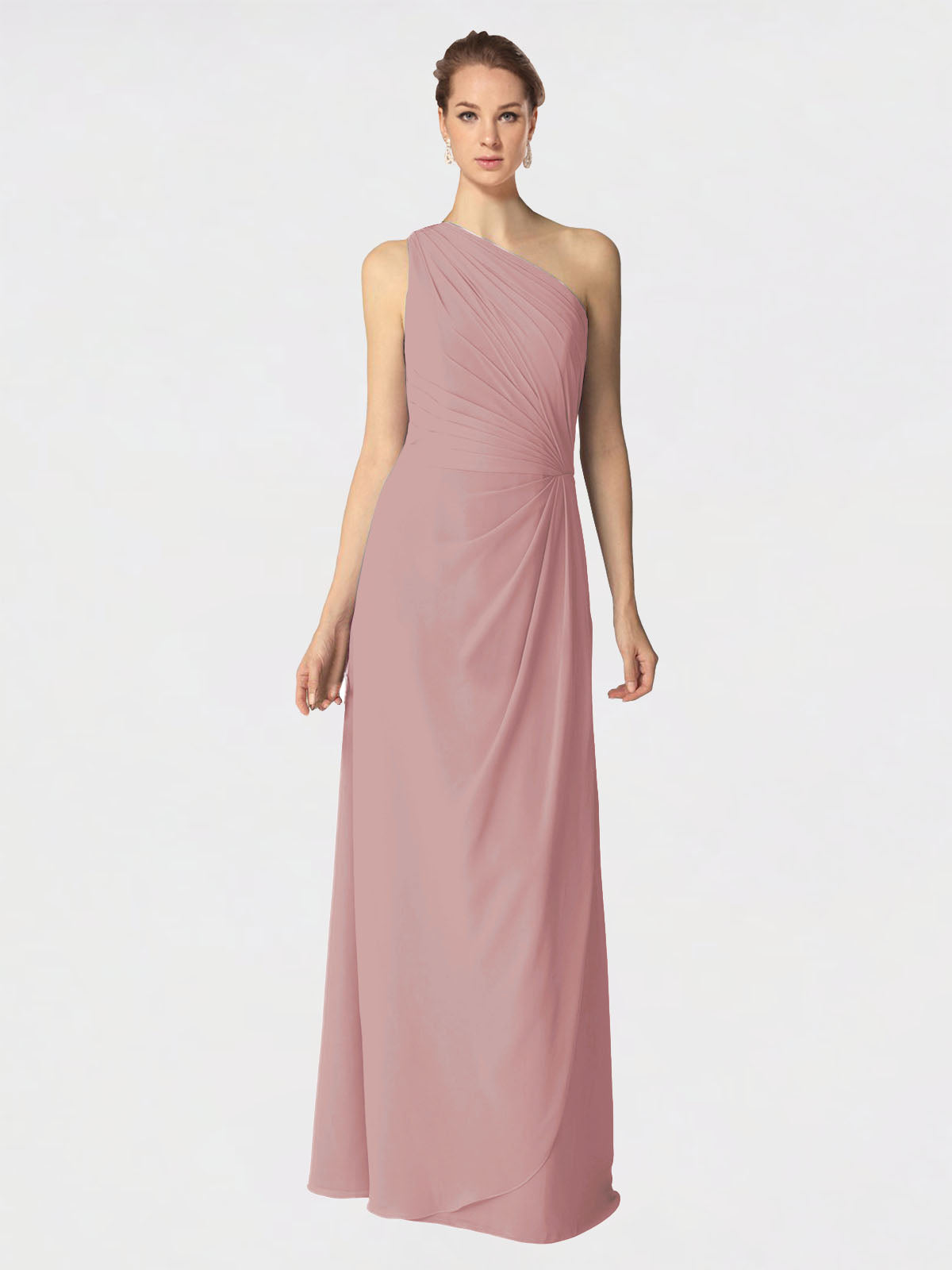 Long A-Line One Shoulder Sleeveless Dusty Pink Chiffon Bridesmaid Dress Aurora