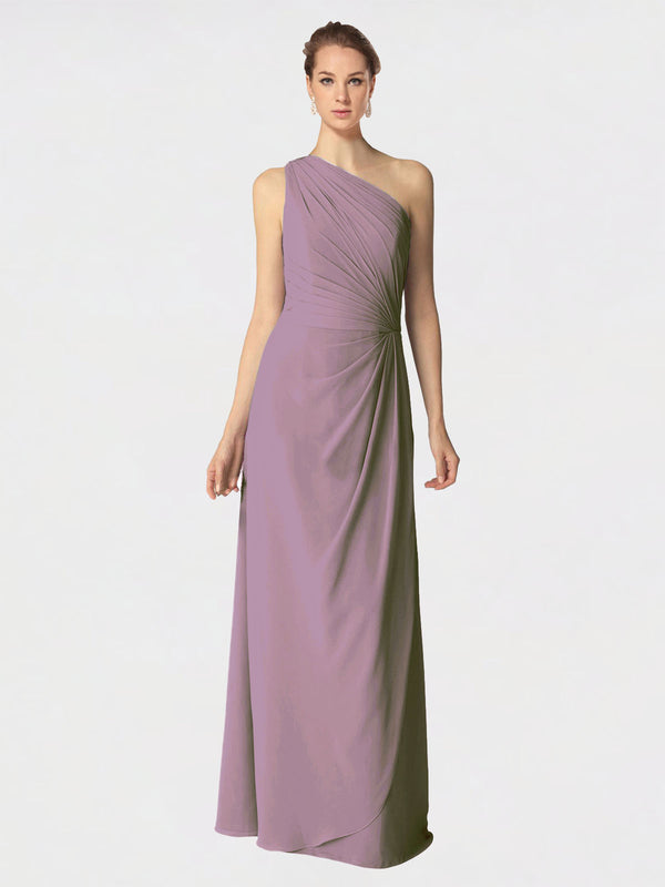 Long A-Line One Shoulder Sleeveless Dusty Rose Chiffon Bridesmaid Dress Aurora
