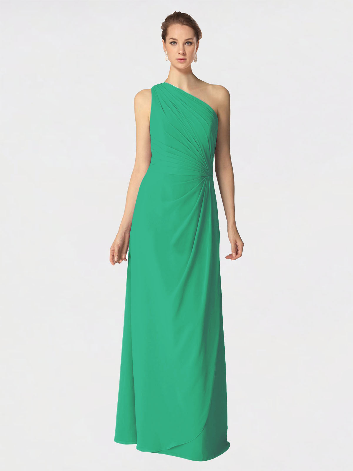 Long A-Line One Shoulder Sleeveless Emerald Green Chiffon Bridesmaid Dress Aurora
