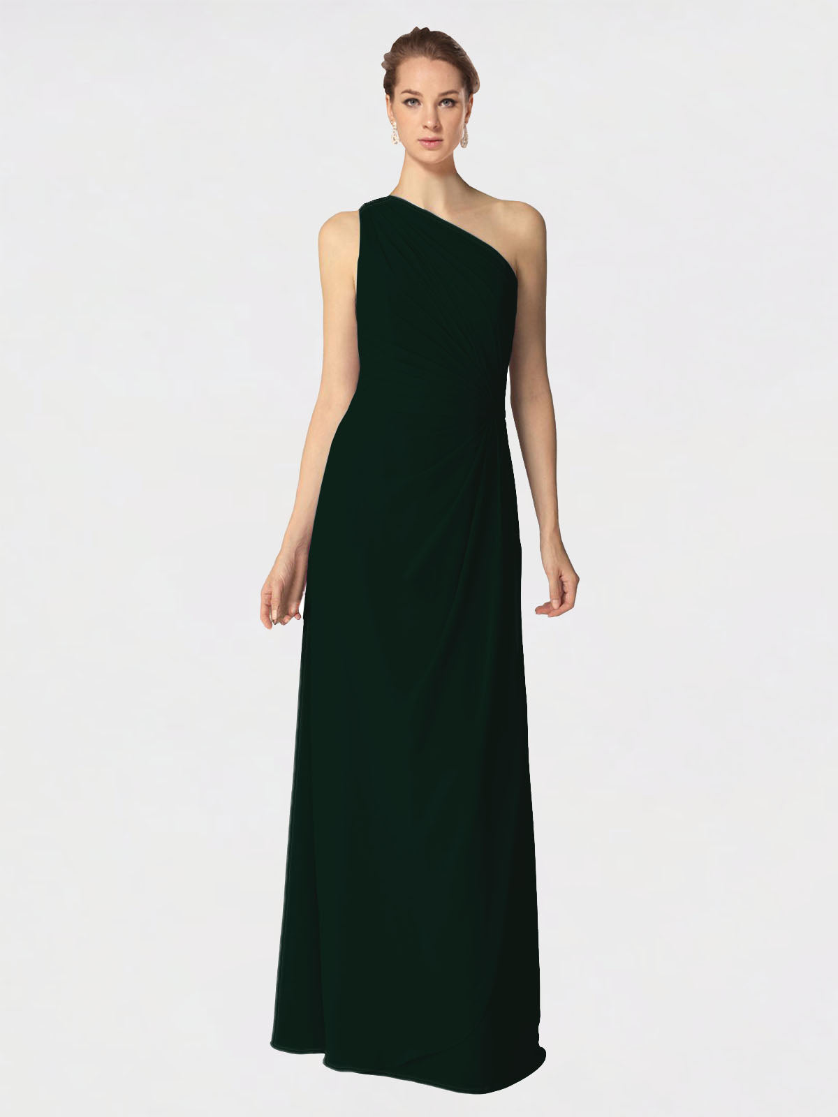 Long A-Line One Shoulder Sleeveless Ever Green Chiffon Bridesmaid Dress Aurora