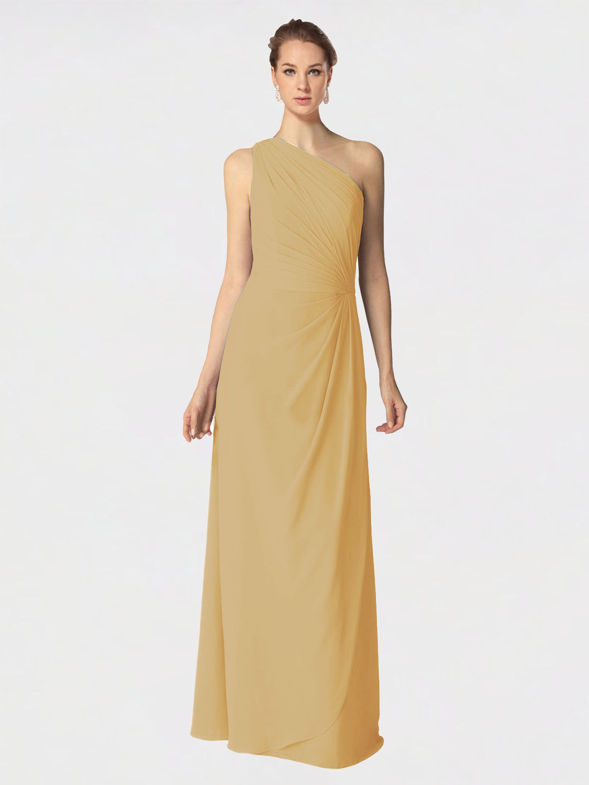 Long A-Line One Shoulder Sleeveless Gold Chiffon Bridesmaid Dress Aurora