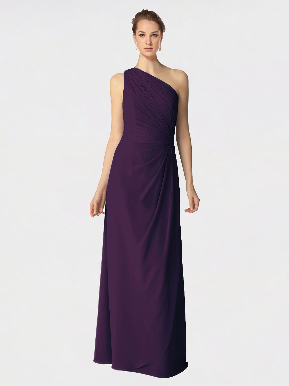 Long A-Line One Shoulder Sleeveless Grape Chiffon Bridesmaid Dress Aurora