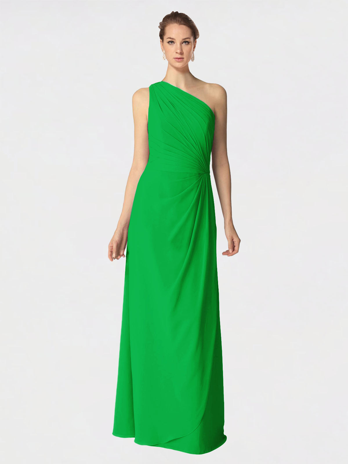 Long A-Line One Shoulder Sleeveless Green Chiffon Bridesmaid Dress Aurora