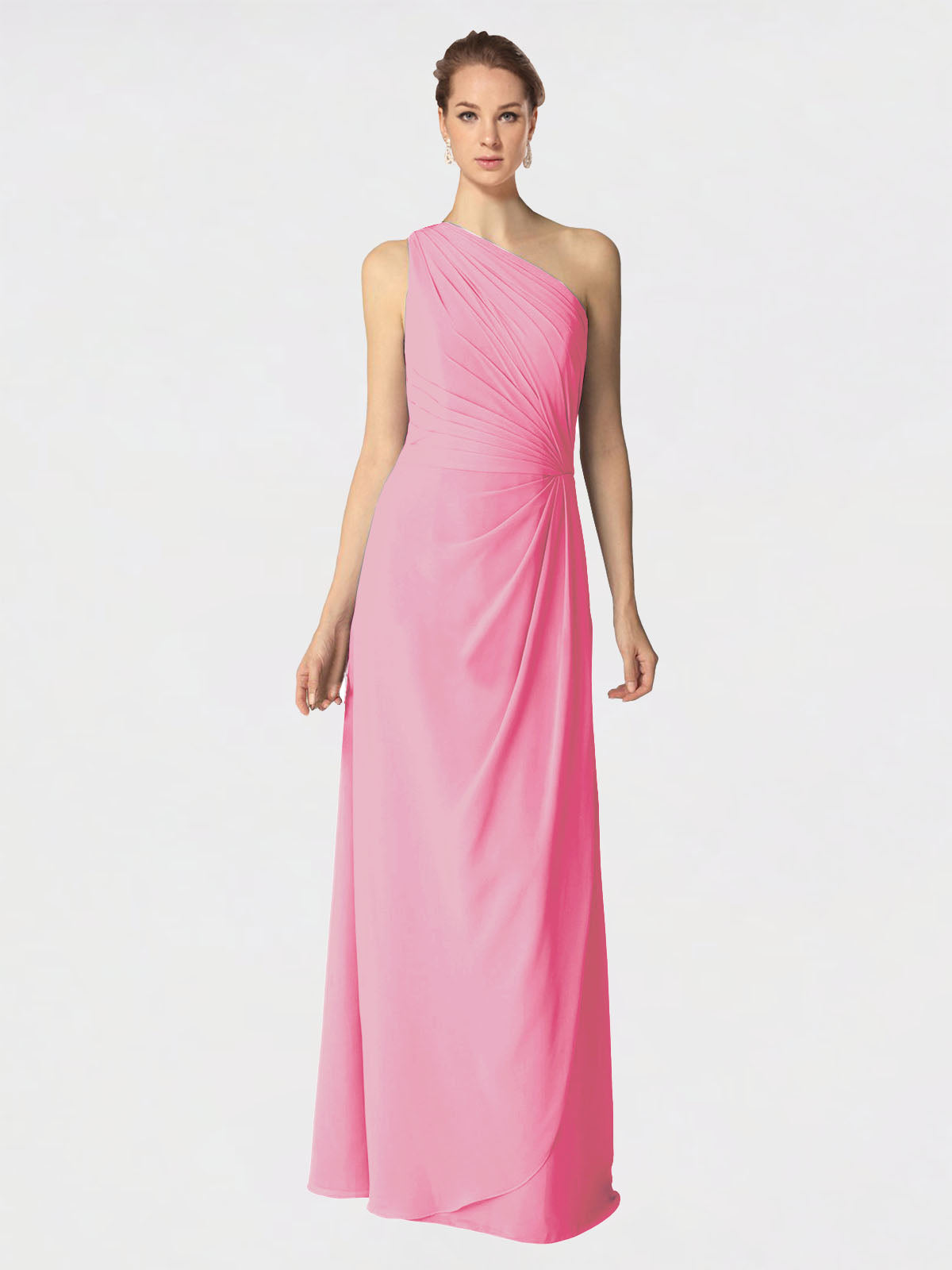 Long A-Line One Shoulder Sleeveless Hot Pink Chiffon Bridesmaid Dress Aurora