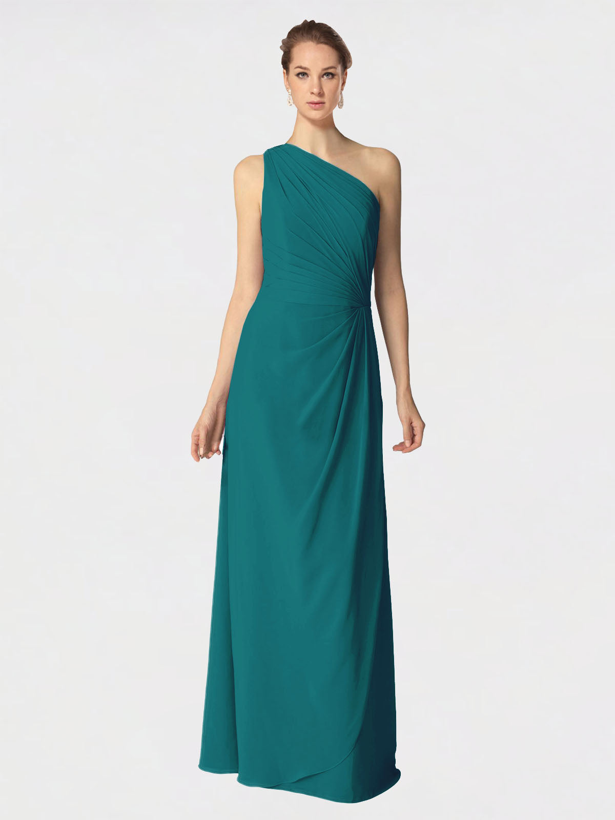 Long A-Line One Shoulder Sleeveless Hunter Chiffon Bridesmaid Dress Aurora