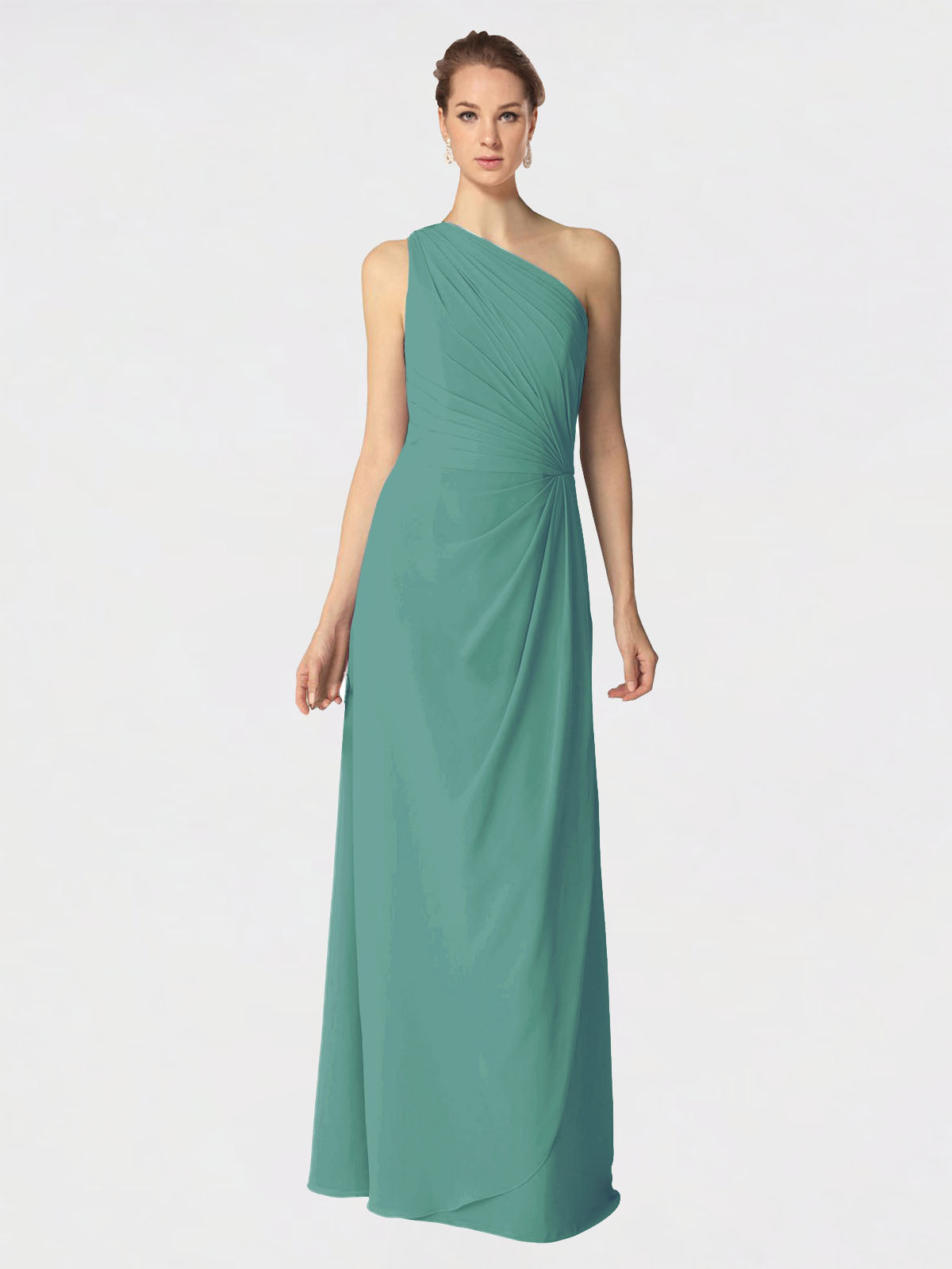 Long A-Line One Shoulder Sleeveless Icelandic Silver Chiffon Bridesmaid Dress Aurora