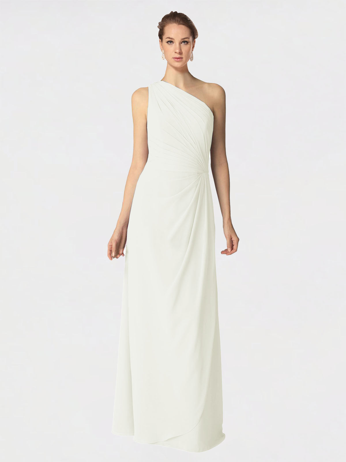 Long A-Line One Shoulder Sleeveless Ivory Chiffon Bridesmaid Dress Aurora