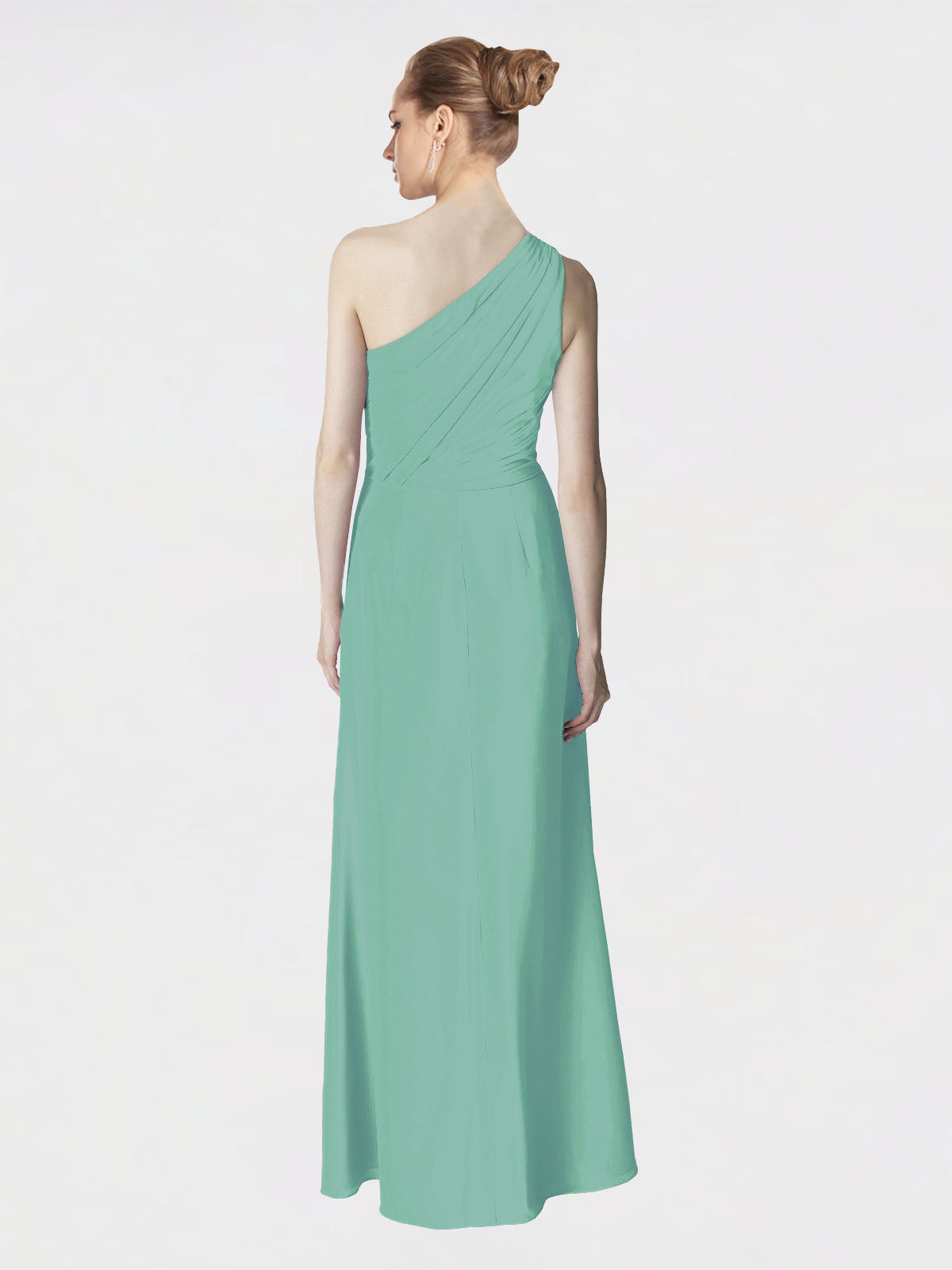 Long A-Line One Shoulder Sleeveless Jade Chiffon Bridesmaid Dress Aurora