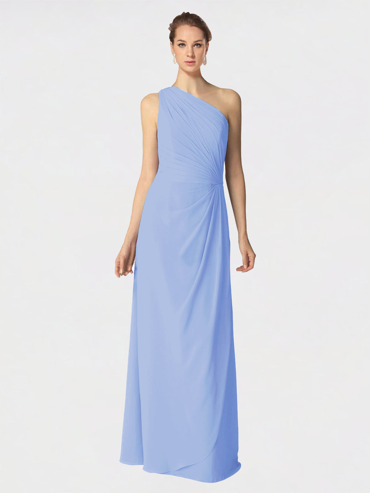Long A-Line One Shoulder Sleeveless Lavender Chiffon Bridesmaid Dress Aurora