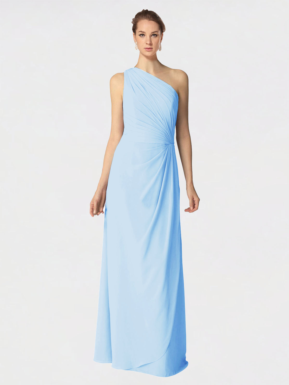 Long A-Line One Shoulder Sleeveless Light Sky Blue Chiffon Bridesmaid Dress Aurora