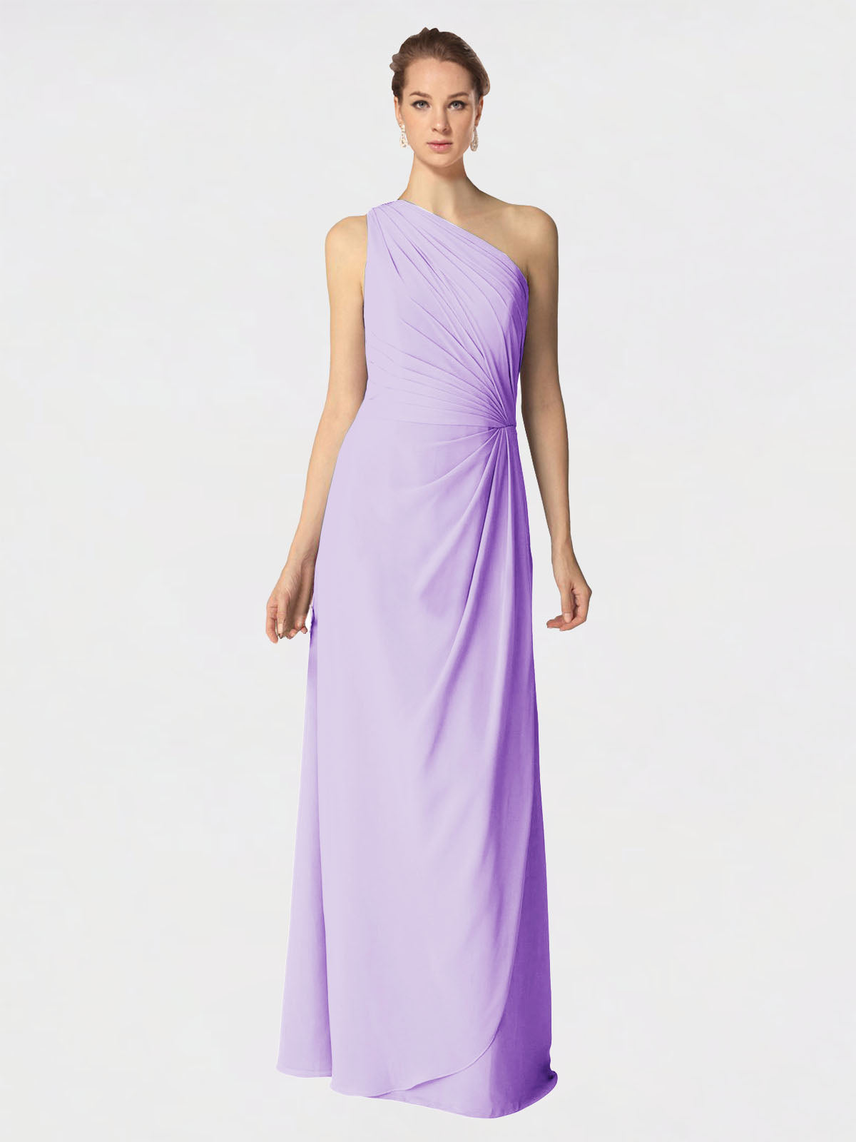 Long A-Line One Shoulder Sleeveless Lilac Chiffon Bridesmaid Dress Aurora