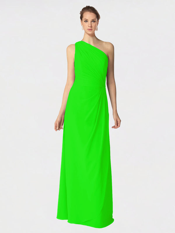 Long A-Line One Shoulder Sleeveless Lime Green Chiffon Bridesmaid Dress Aurora