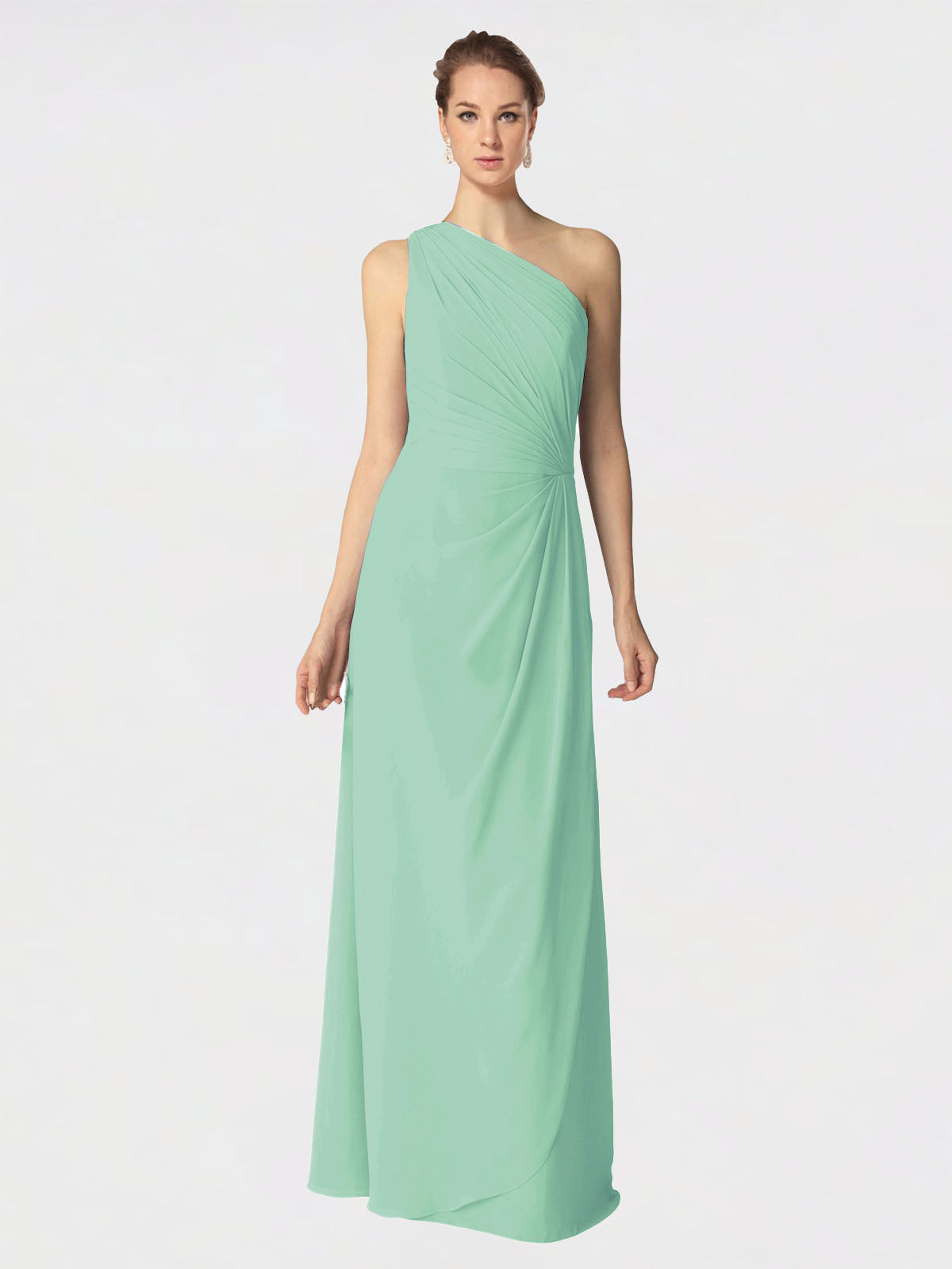 Long A-Line One Shoulder Sleeveless Mint Green Chiffon Bridesmaid Dress Aurora