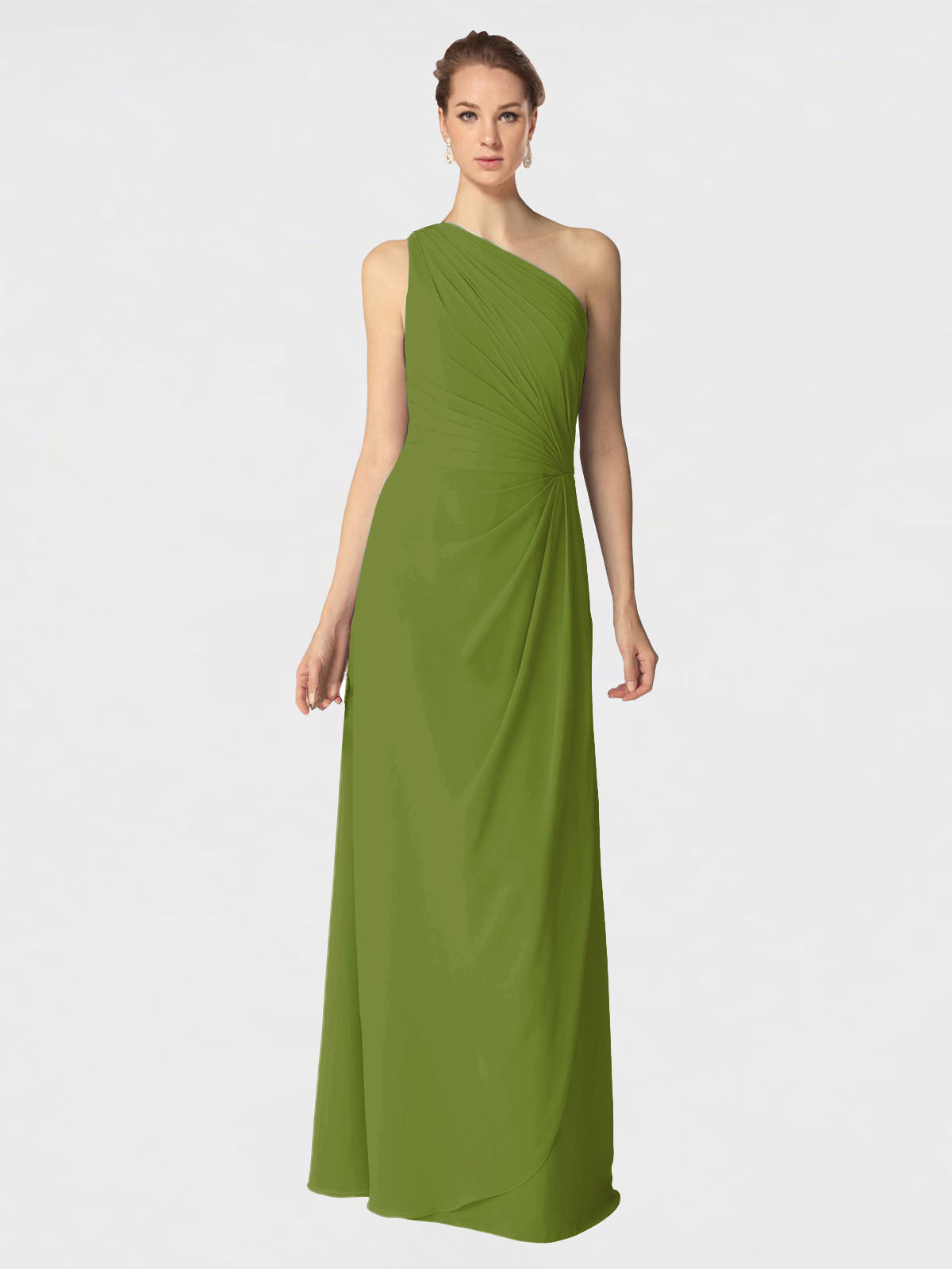 Long A-Line One Shoulder Sleeveless Olive Green Chiffon Bridesmaid Dress Aurora