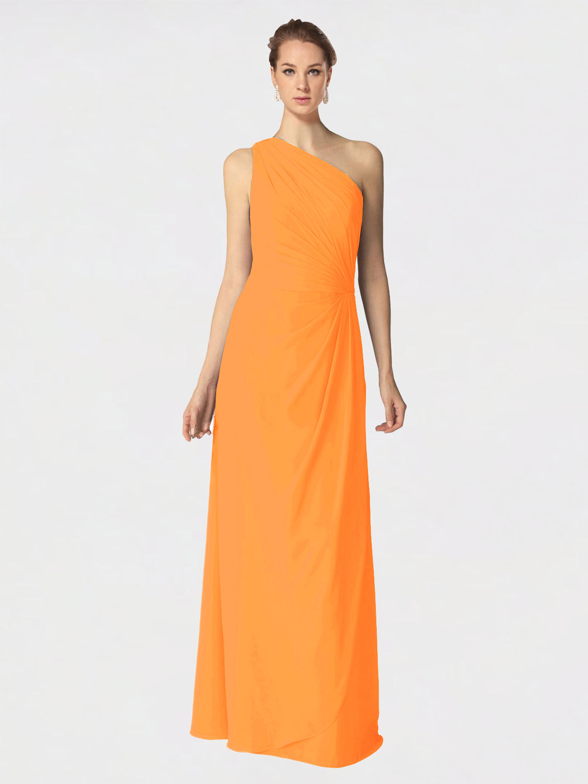 Long A-Line One Shoulder Sleeveless Orange Chiffon Bridesmaid Dress Aurora