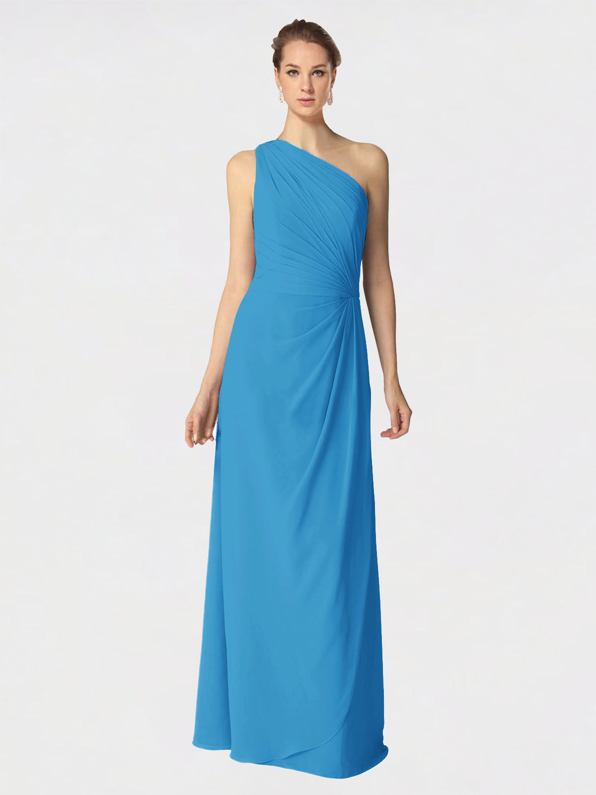 Long A-Line One Shoulder Sleeveless Peacock Blue Chiffon Bridesmaid Dress Aurora
