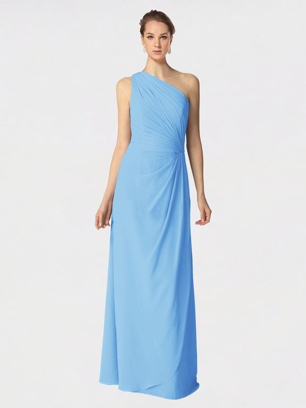 Long A-Line One Shoulder Sleeveless Periwinkle Chiffon Bridesmaid Dress Aurora