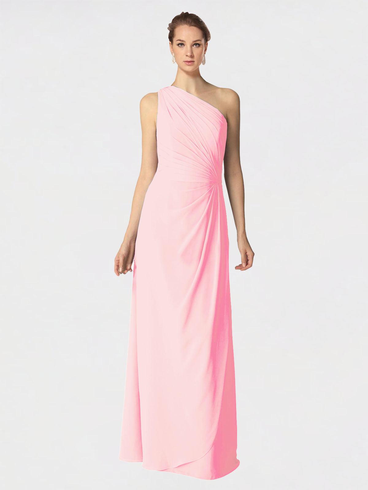 Long A-Line One Shoulder Sleeveless Pink Chiffon Bridesmaid Dress Aurora