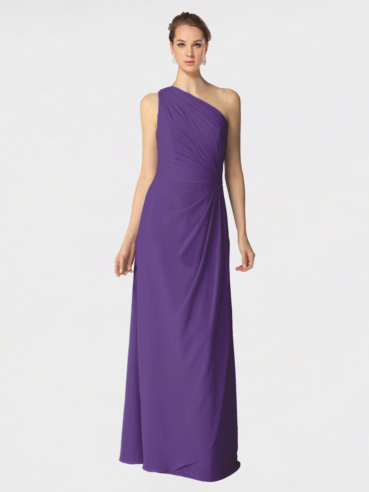 Long A-Line One Shoulder Sleeveless Plum Purple Chiffon Bridesmaid Dress Aurora