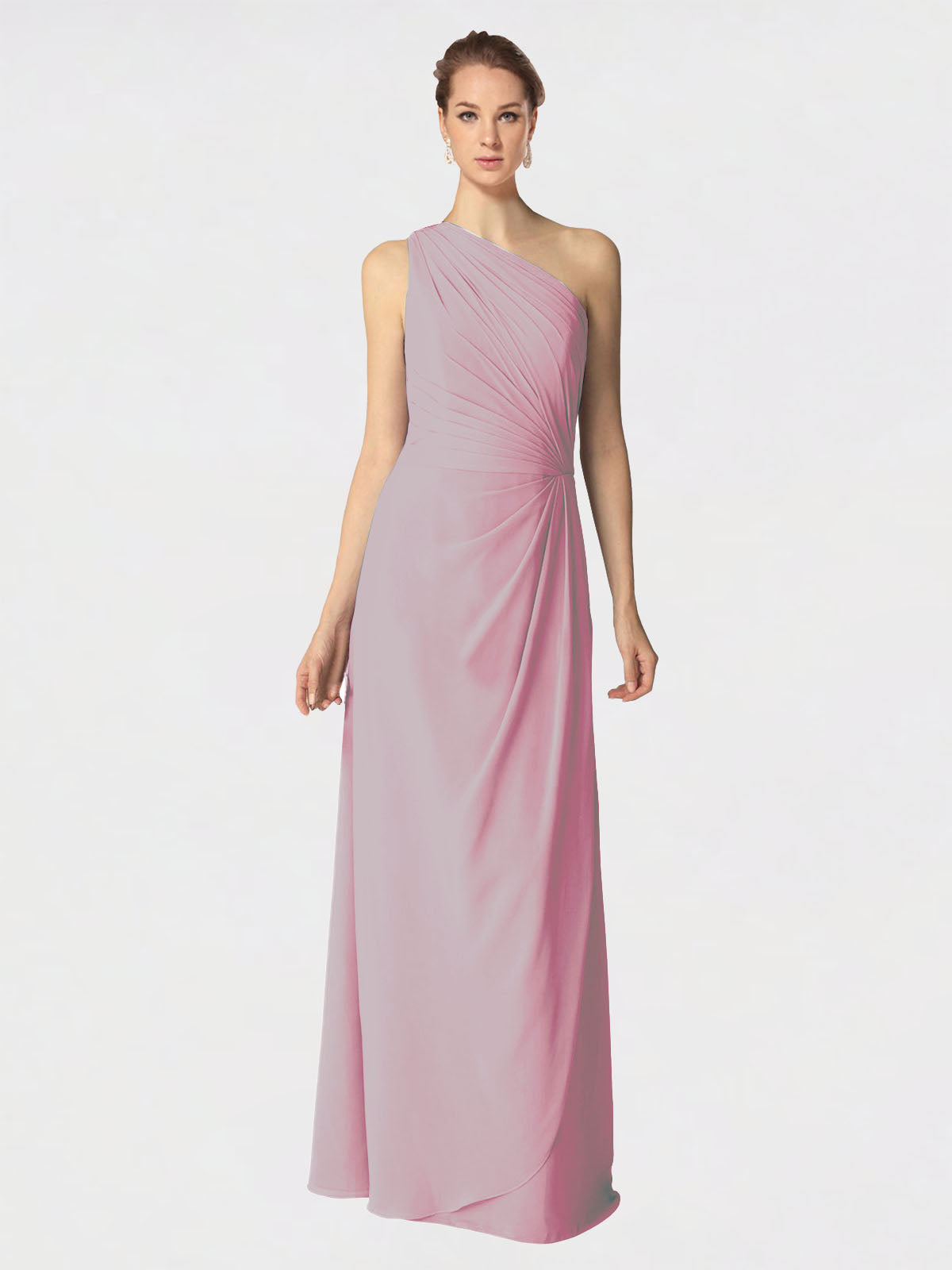 Long A-Line One Shoulder Sleeveless Primrose Chiffon Bridesmaid Dress Aurora