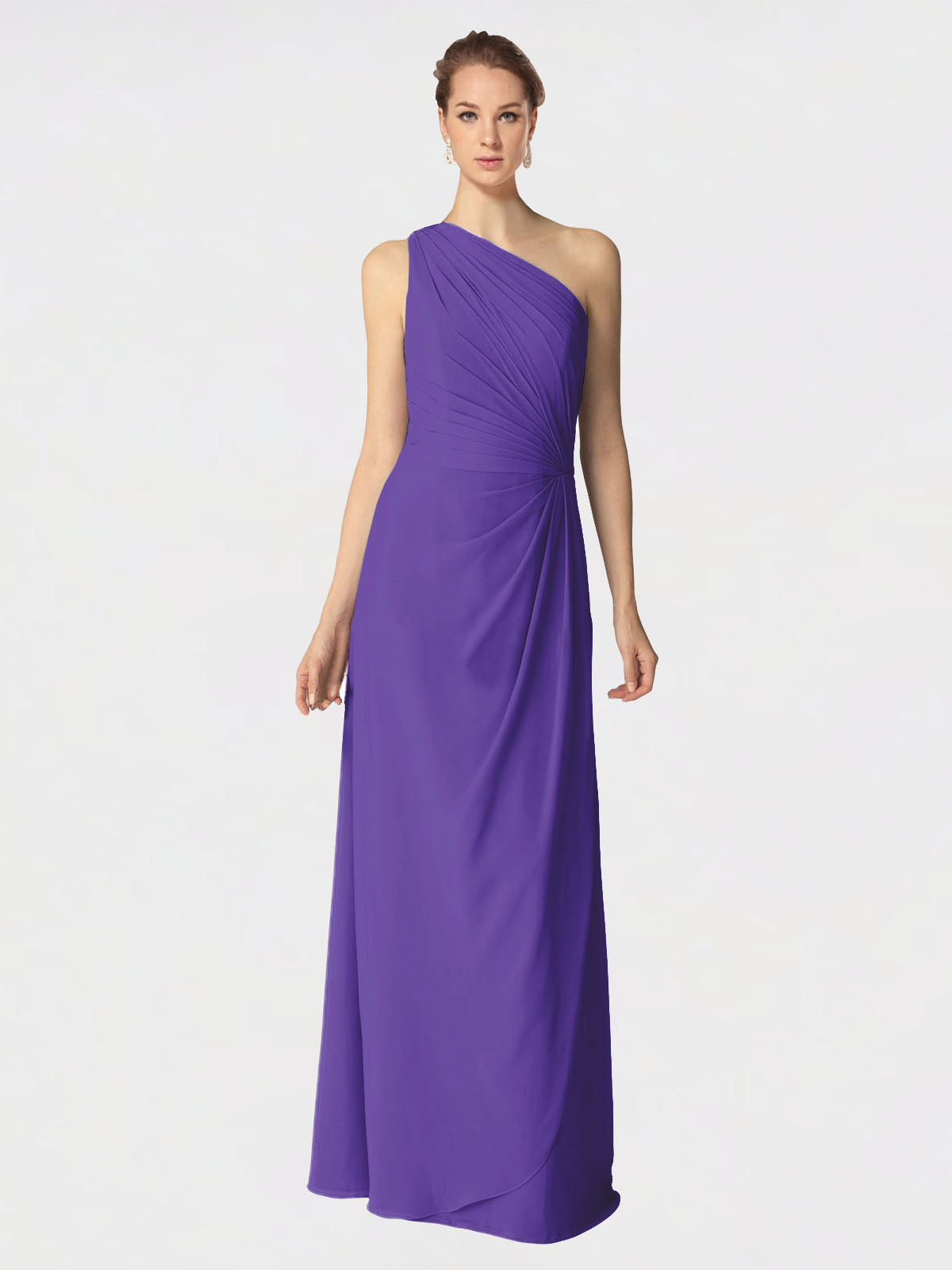 Long A-Line One Shoulder Sleeveless Purple Chiffon Bridesmaid Dress Aurora