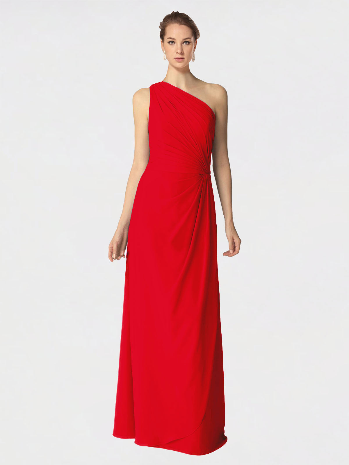 Long A-Line One Shoulder Sleeveless Red Chiffon Bridesmaid Dress Aurora