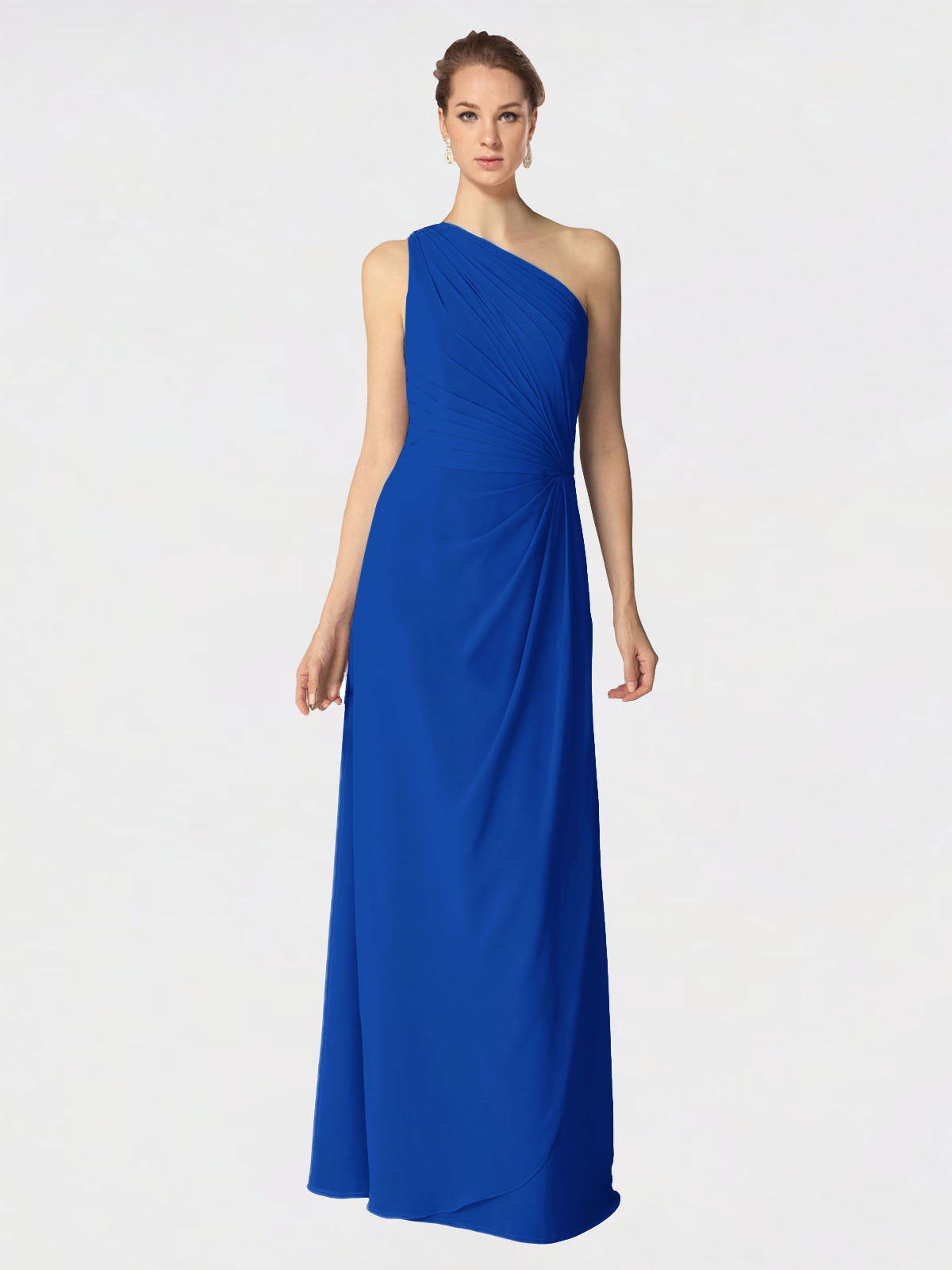 Long A-Line One Shoulder Sleeveless Royal Blue Chiffon Bridesmaid Dress Aurora