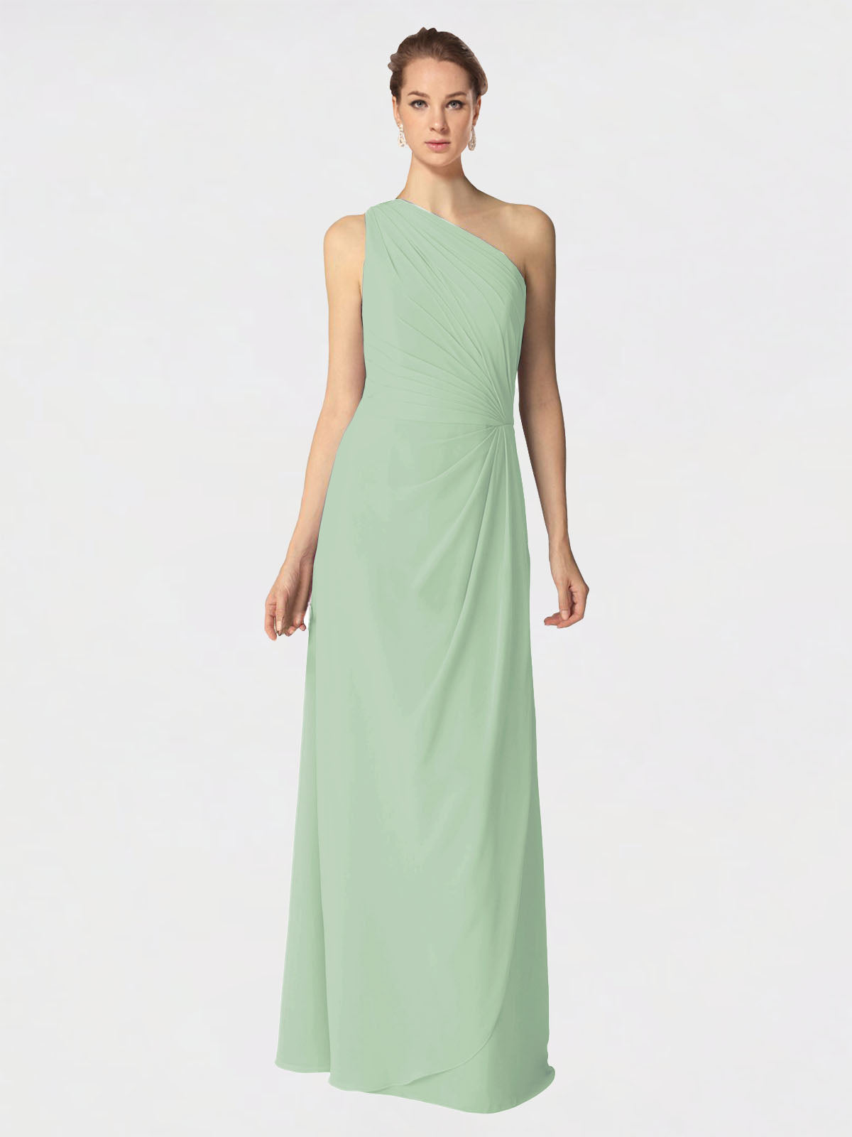 Long A-Line One Shoulder Sleeveless Sage Chiffon Bridesmaid Dress Aurora