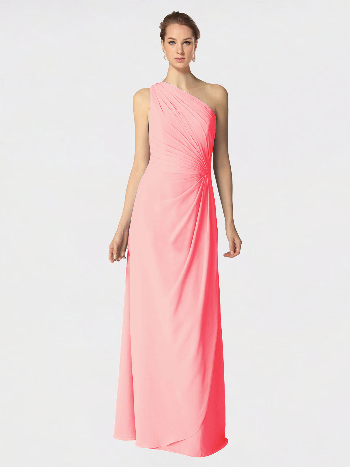 Long A-Line One Shoulder Sleeveless Salmon Chiffon Bridesmaid Dress Aurora